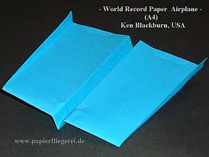 Papierflieger Wold Record Paper Airplan A4